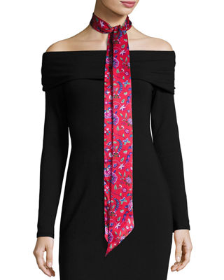 Liberty London Astrid Skinny Floral Silk Twill Scarf