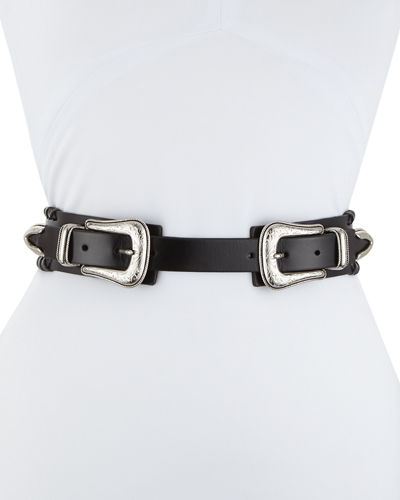 Rebecca Minkoff Whipstitched Double-Buckle Leather Belt