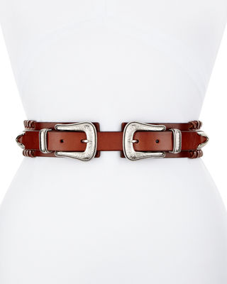 Whipstitched Double-Buckle Leather Belt