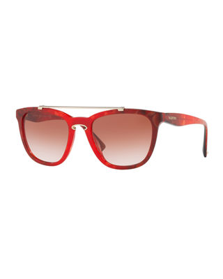 Rockloop Square Brow-Bar Sunglasses