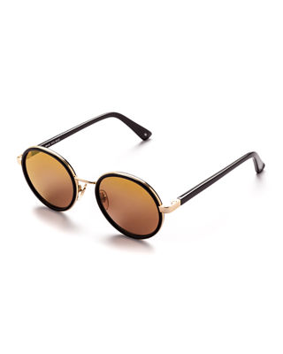 SUNDAY SOMEWHERE Ned Round Sunglasses in Brown/Gold