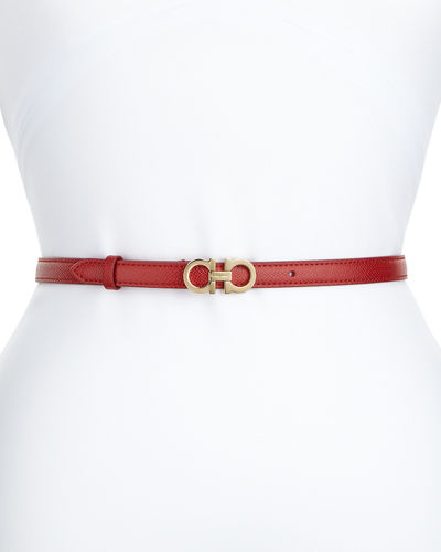 Thin Leather Gancini Belt