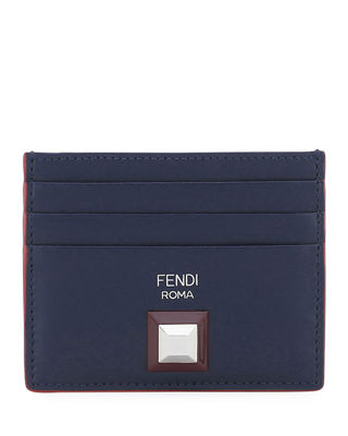 Fendi Rainbow Stud Leather Card Holder