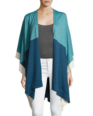 IL BORGO Lightweight Wool Colorblock Poncho in Blue
