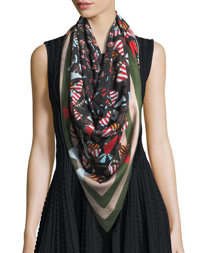 Fendi Square Butterfly Shawl Scarf