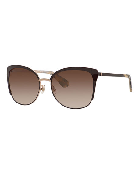 kate spade new york genice square oversize half-rim sunglasses
