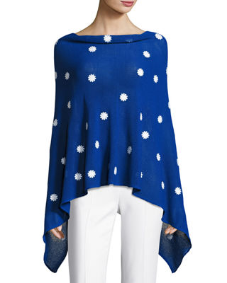 Minnie Rose Embroidered Flower Poncho
