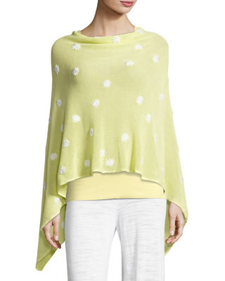 MINNIE ROSE Embroidered Flower Poncho, Plus Size in Yellow/White