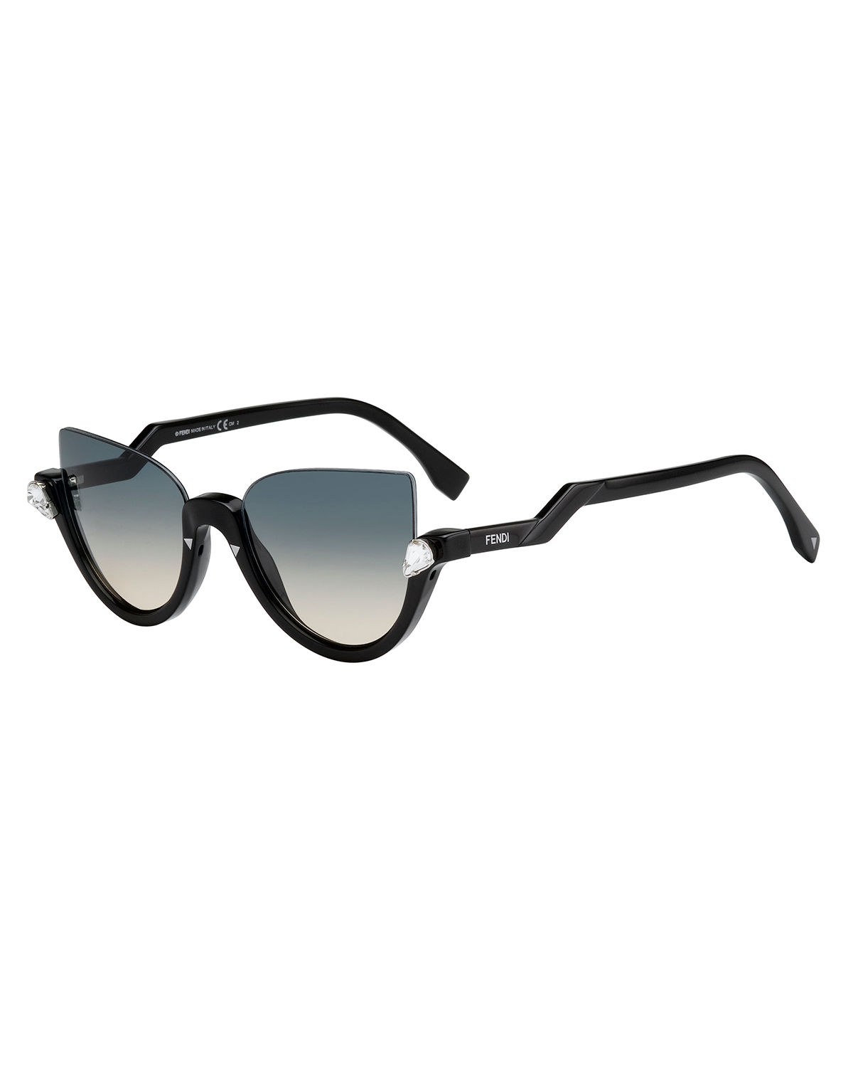 d0dacede5a8 Fendi Blink Half-Rim Crystal Cat-Eye Sunglasses
