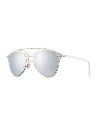 "REFLECTED"" TWO-TONE AVIATOR SUNGLASSES, SILVERTONE/WHITE"""