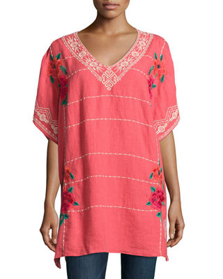 Johnny Was Selena Embroidered Linen Poncho Top, Plus