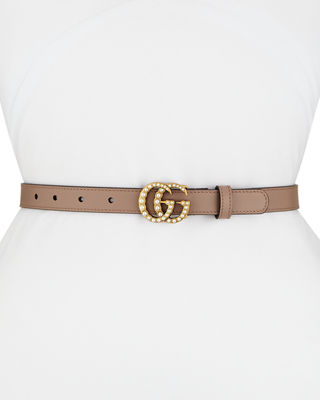 Leather Belt W/ Double G Buckle in Rose