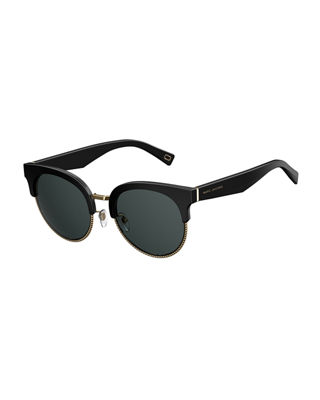 Semi-Rimless Cat-Eye Acetate Sunglasses
