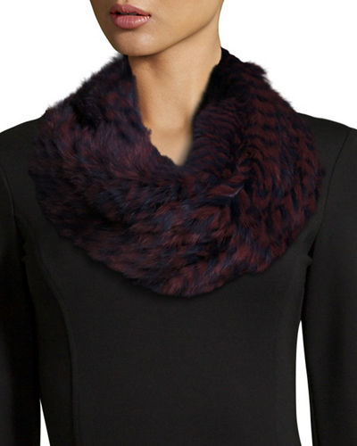Monique Lhuillier Knitted Rabbit Fur Check Infinity Scarf