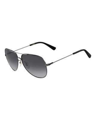 Image 1 of 3: Metal Aviator Logo Sunglasses