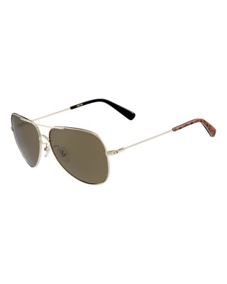 Metal Aviator Logo Sunglasses