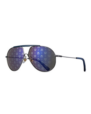 MCM Mirrored Visetos Logo Aviator Sunglasses