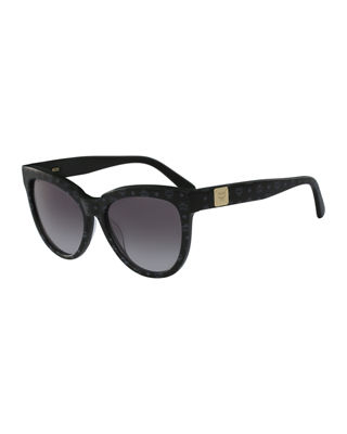 MCM PRINTED CAT-EYE LOGO-TEMPLE SUNGLASSES, BLACK, TAN/CLEAR