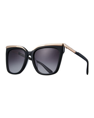 Square Metal-Trim Sunglasses