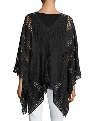 Image 2 of 2: Lace Embroidered Voile Poncho