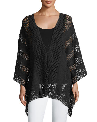 Image 1 of 2: Lace Embroidered Voile Poncho