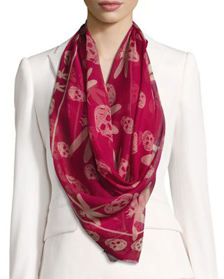 Image 1 of 3: Dragonfly & Skull Silk Scarf