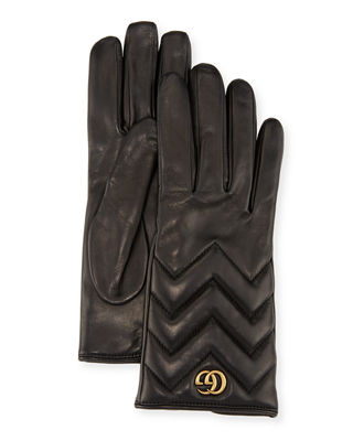 Gg Marmont Chevron-Quilted Leather Gloves, Black