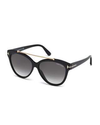 Tom Ford Livia Cat-Eye Brow-Bar Sunglasses, Black Pattern