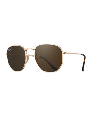 Image 1 of 3: Polarized Hexagonal Metal Sunglasses