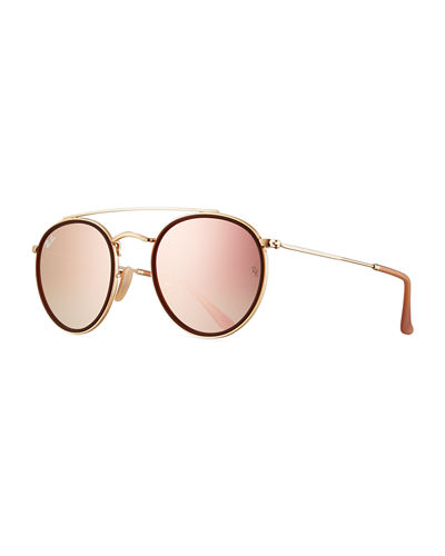 2aabfcd4e4d Quick Look. Ray-Ban · Round Double-Bridge Flash Sunglasses