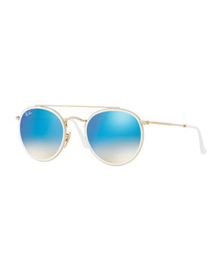 Ray-Ban Flat Lens Gold Round Sunglasses - Rb3647N in Gold/Blue