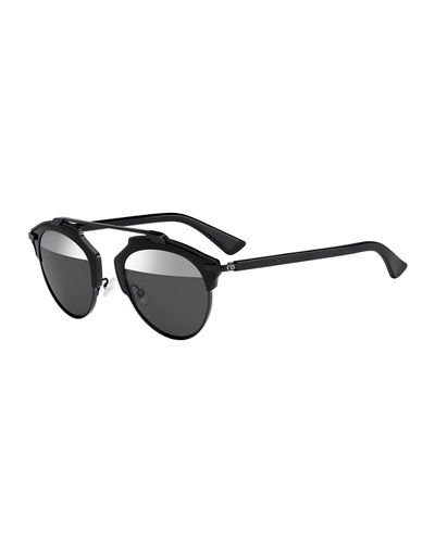 Dior So Real Brow-Bar Mirrored Sunglasses