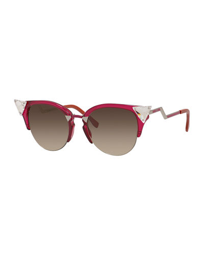 Fendi Iridia Cat-Eye Crystal-Tip Sunglasses