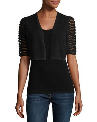 Neiman Marcus Cashmere Collection Cashmere Bolero w/ Dramatic