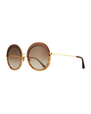 SUNDAY SOMEWHERE Abella Round Sunglasses in Brown