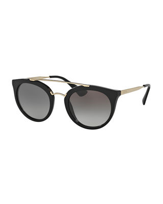 Round Brow-Bar Sunglasses