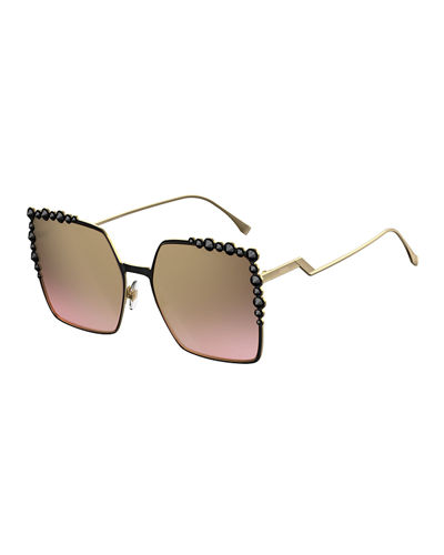 Fendi Can Eye Studded Oversized Square Sunglasses