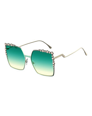 Can Eye Studded Oversized Square Sunglasses in Green
