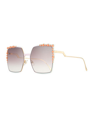 FENDI Women'S Embellished Oversized Square Sunglasses, 60Mm, Pink