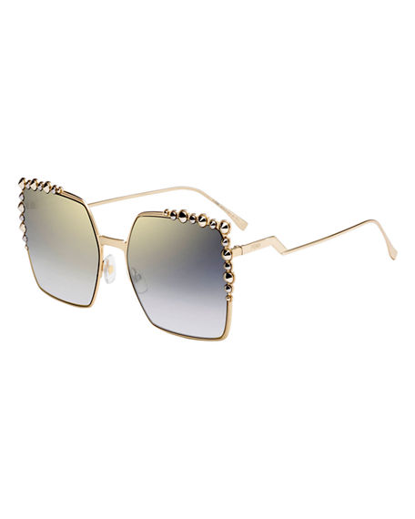 63e522f1d5 Fendi Women S Embellished Mirrored Square Sunglasses