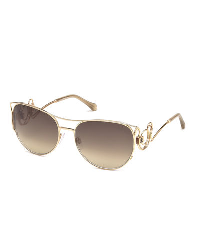 Metal Swirl Aviator Sunglasses