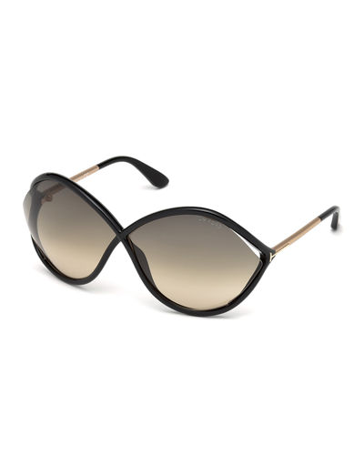 Liora Oversized Open-Inset Sunglasses