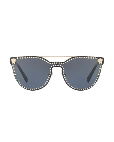 Studded Flat-Top Wrap Sunglasses
