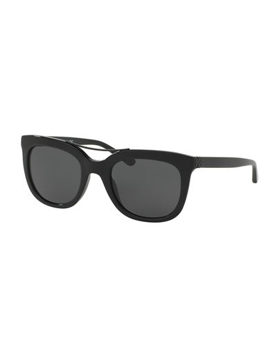 Slim Square Brow-Bar Sunglasses