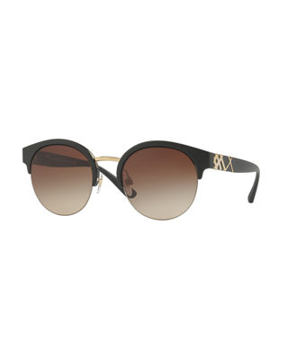 Burberry Check-Temple Half-Rim Sunglasses