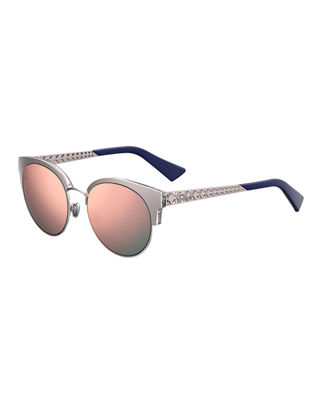 Amamini Semi-Rimless Mirrored Sunglasses in Gold