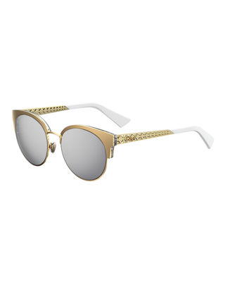 Ama Mirrored Mini Cat Eye Sunglasses, 55Mm in Gold
