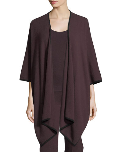 Neiman Marcus Cashmere Collection Cashmere Tipped Shawl Cardigan