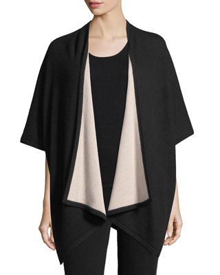 Neiman Marcus Cashmere Collection Two-Tone Shawl Wrap