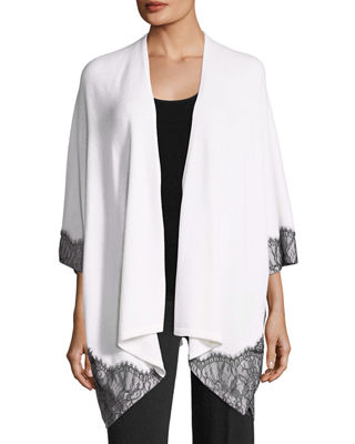 Neiman Marcus Cashmere Collection Cashmere Lace-Trimmed Shawl